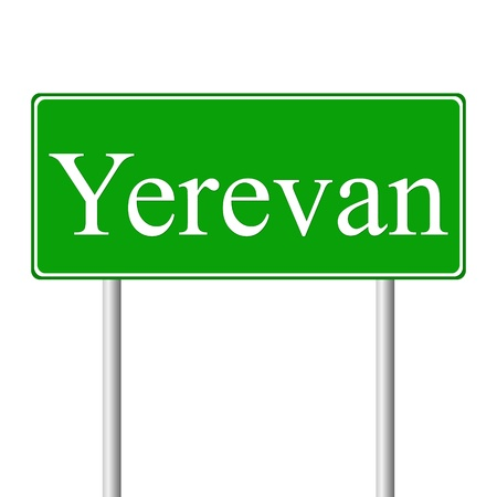 yerevan: Yerevan green road sign isolated on white background