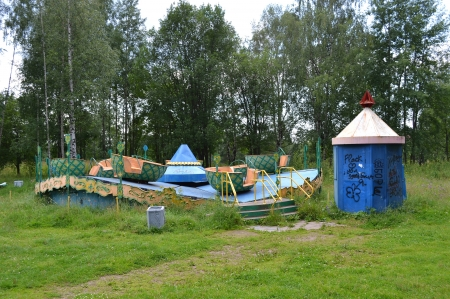 disuse: The photo of old abandoned carousel in Vyborg, Russia