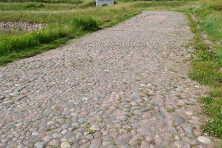 vyborg: View of old cobblestone road in Vyborg, Russia