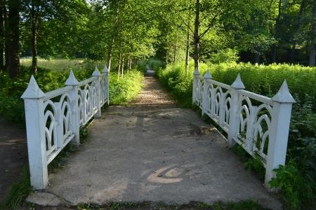 vyborg: Wooden bridge in the park Monrepos, Vyborg, Russia