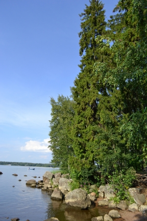 vyborg: View of Mon Repos park in Vyborg, Russia