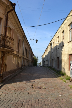 vyborg: Street in old part of Vyborg, Russia Stock Photo