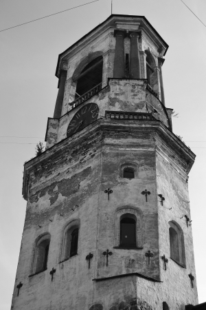 The photo of Vyborg old clock tower, Russia. Black and white photo
