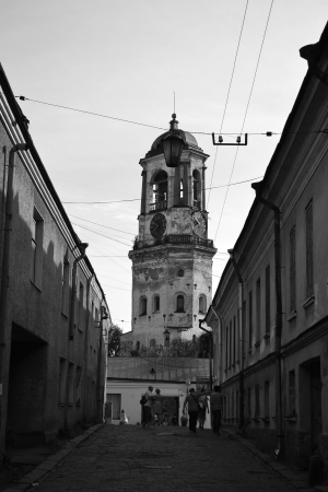 vyborg: Street in old part of Vyborg, Russia. Black and white