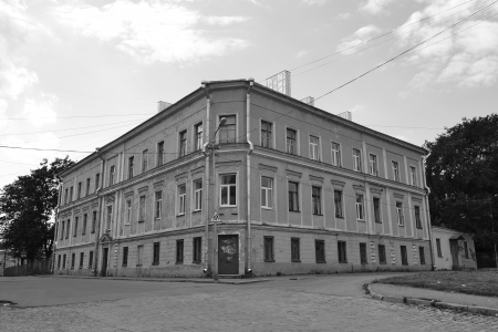 vyborg: Vyborg, Russia - July 28, 2012: The exterior of a old home. Black and white Editorial