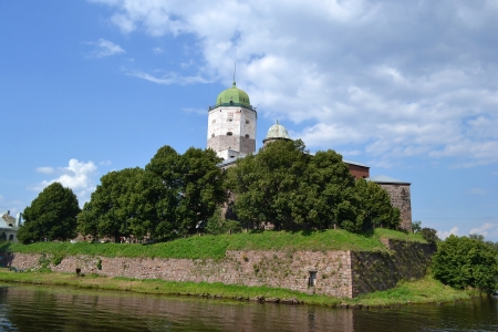 Vyborg, Russia - July 28, 2012: View of old Swedish castle in Vyborg