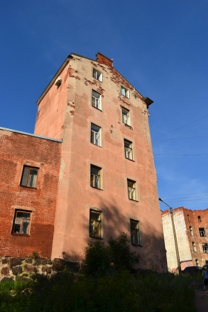 vyborg: Vyborg, Russia - July 28, 2012: The exterior of a old home Editorial
