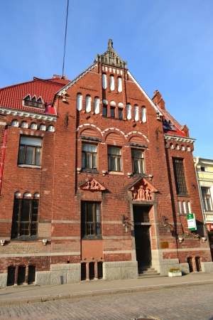 provincial: Vyborg, Russia - July 28, 2012: The exterior of a old home Editorial