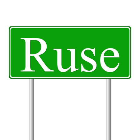 ruse: Ruse green road sign isolated on white background
