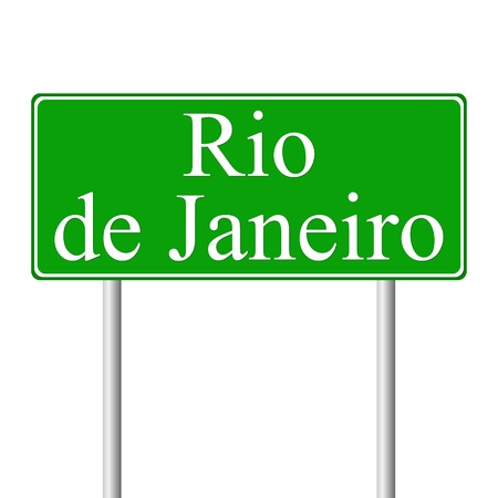 Rio de Janeiro green road sign isolated on white background Vector