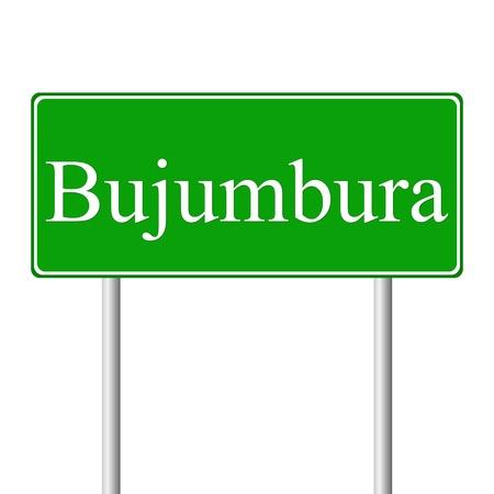 bujumbura: Bujumbura green road sign isolated on white background