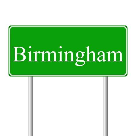 birmingham: Birmingham green road sign isolated on white background Illustration