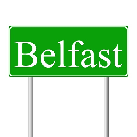 ireland cities: Belfast green road sign isolated on white background Illustration