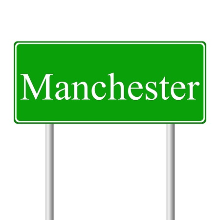 manchester: Manchester green road sign isolated on white background