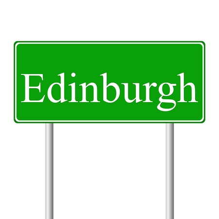 edinburgh: Edinburgh groene verkeersbord geïsoleerd op witte achtergrond