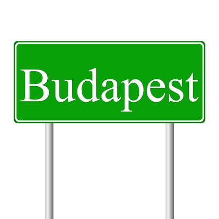 magyar: Budapest green road sign isolated on white background Illustration