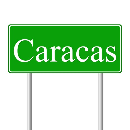 caracas: Caracas green road sign isolated on white background