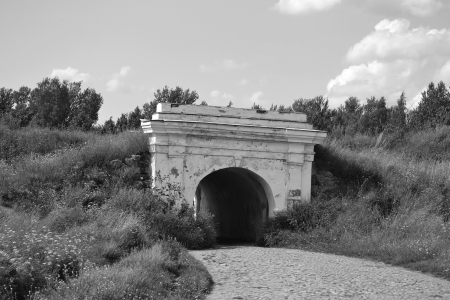 fortification: View of Anns fortification in Vyborg, Russia. Black and white Stock Photo