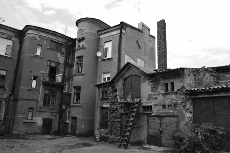 vyborg: Vyborg, Russia - July 28, 2012: The exterior of a old home in Vyborg. Black and white