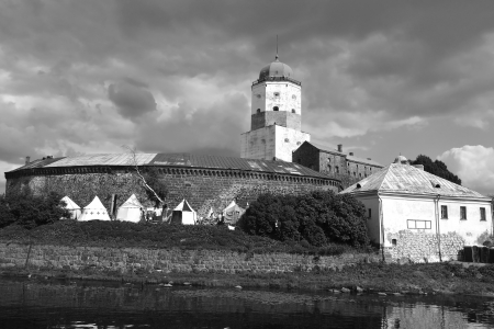 Vyborg, Russia - July 28, 2012: View of old Swedish castle in Vyborg. Black and white