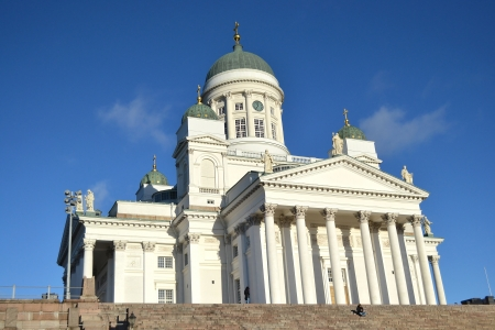 The Helsinki Cathedral in Finland with blue sky on a sunny morning photo