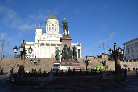 Senate Square and Helsinki Cathedral in Helsinki, Finland photo
