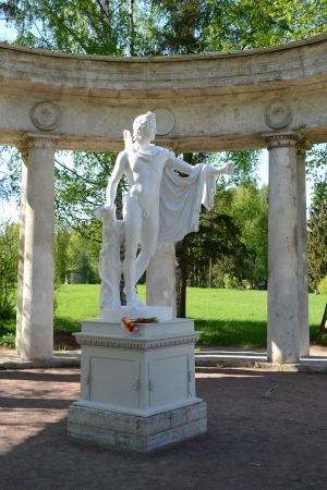 Statue of the Greek god in the Pavlovsk park, St.Petersburg, Russia Stock Photo - 16847303