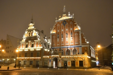 House of the Blackheads at night in old town of Riga, Latvia