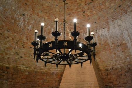sigulda: L�mpara vieja en Turaida Castillo medieval, Sigulda, Letonia Foto de archivo