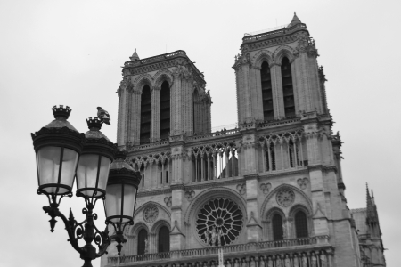 Notre Dame de Paris. France. Black and white.