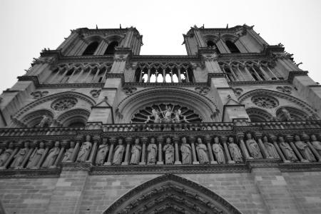 Notre Dame de Paris. France. Black and white. photo