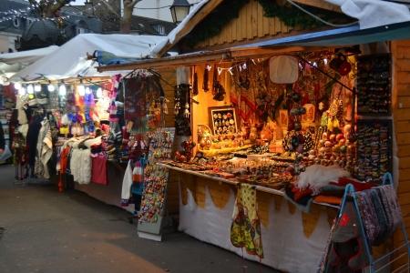 market place: Paris, France - January 6, 2013: Christmas Fair in Paris