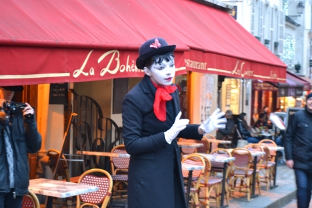 Paris, France - January 6, 2013: Mime on the streets of Paris. Montmartre