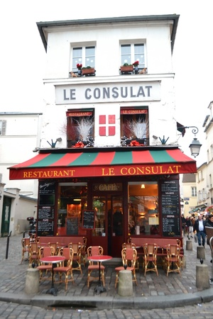 montmartre: Paris, France - January 6, 2013: Small cozy cafe in the center of Paris