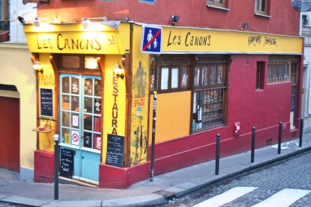 Paris, France - January 6, 2013: Small cozy cafe in the center of Paris