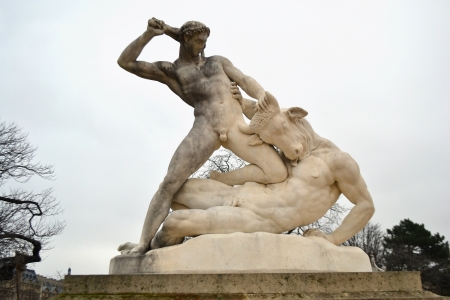 Hercules and Minotaur statue in Tuileries garden, Paris, France Stock Photo - 17886347