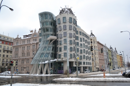 Famous landmark of Prague - Dancing House, Czech Republic. photo