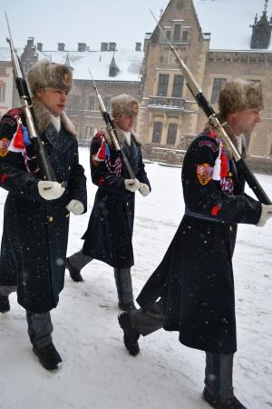 Prague, Czech Republic - 23 February 2013: Guard at Prague Castle