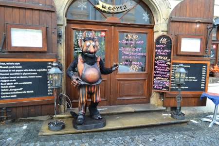 bohemia: Prague, Czech Republic - 24 February 2013: Restaurant in center of Prague