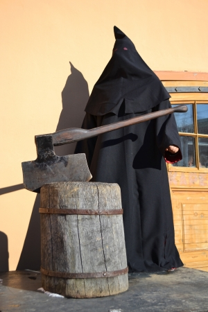 inquisition: Executioner of the death penalty with a huge ax in St Petersburg, Russia Stock Photo