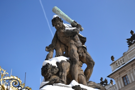 battling: Battling Titan at the gate of Castle in Hradcany. Prague, Czech Republic