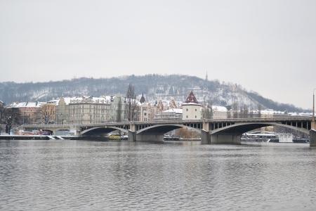 View of the Vltava River in Prague at winter, Czech Republic, photo