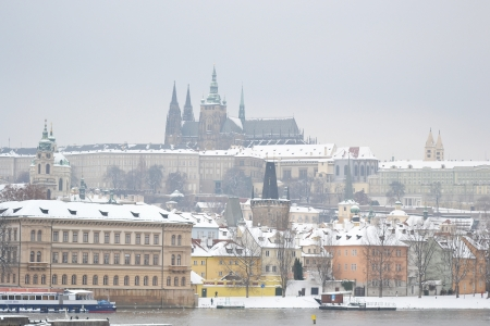 The Prague Castle at winter in Prague, Czech Republic photo