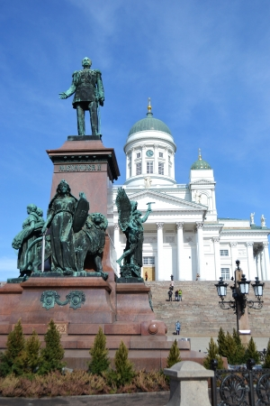 Statue of Russian czar Alexander II against the Cathedral. Senate Square, Helsinki, Finland