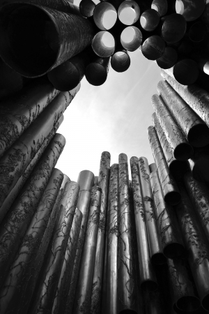 View of Sibelius monument in Helsinki, Finland. Black and white. Imagens