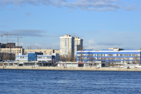 outskirts: Bank of the river Neva on the outskirts of St. Petersburg at sunny spring evening, Russia