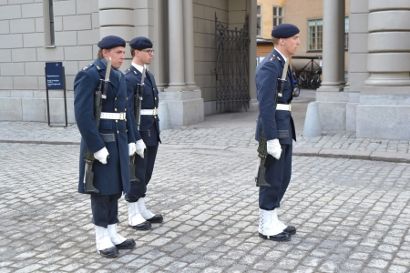 Stockholm, Sweden - April 11, 2013: Ceremony changing of the Sweden Royal guard