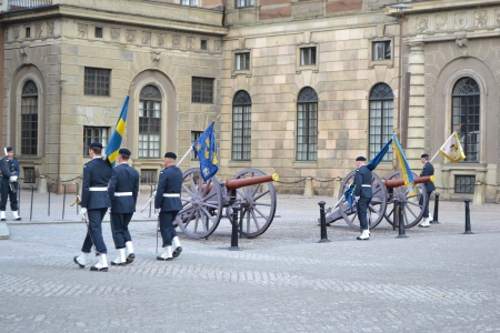 Stockholm, Sweden - April 11, 2013: Ceremony changing of the Sweden Royal guard Stock Photo - 19388801
