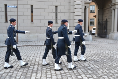 Stockholm, Sweden - April 11, 2013: Ceremony changing of the Sweden Royal guard Stock Photo - 19388793