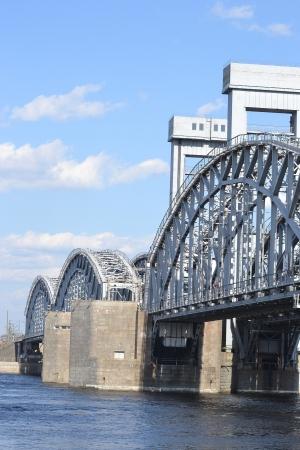 piter: Finland Railway bridge at sunny day, St.Petersburg, Russia